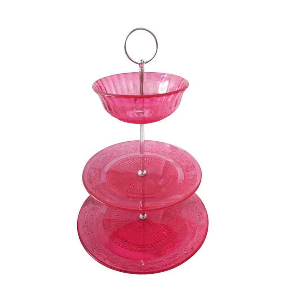 Prato para Doces Plus Bowl Glass Rosa em Vidro - Urban - 25x20 cm