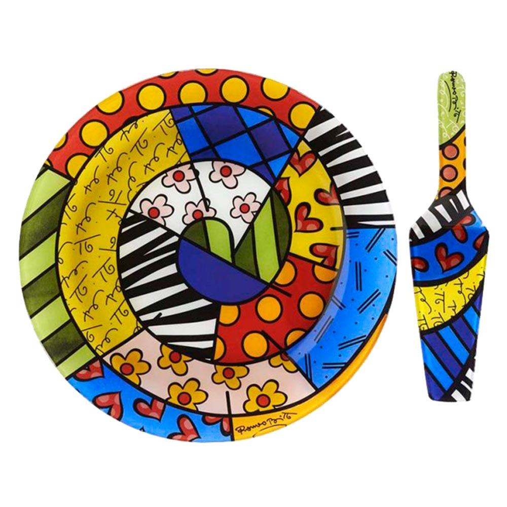 Prato e Espátula p/ Bolo Safari - Romero Britto em Vidro - 30x30 cm