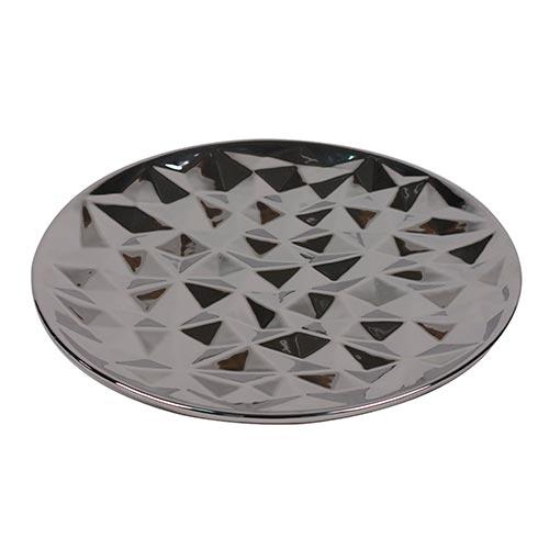 Prato Facetado Bronze em Cerâmica - 34x4 cm