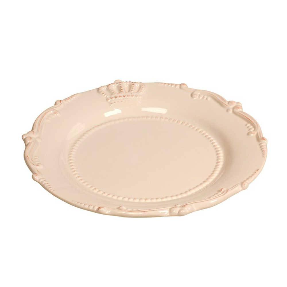 Prato de Jantar Crown Branco Pátina em Porcelana - com Relevo - 33 cm