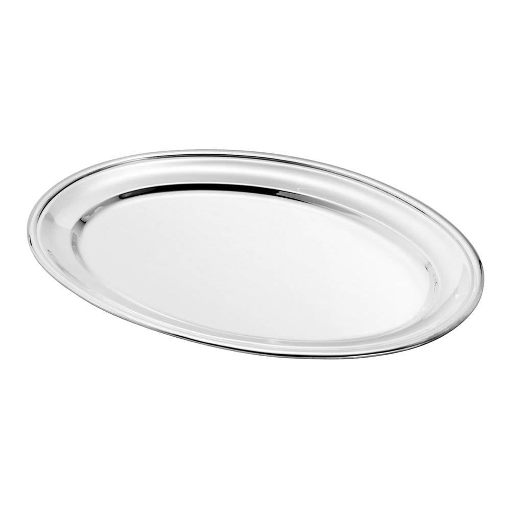 Prato Multiuso Oval Liso em Prata - Wolff - 71x46 cm