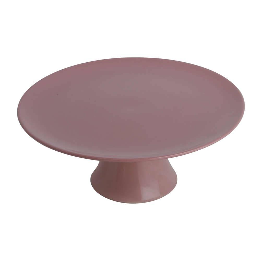 Prato Multiuso Rosa Pedestal Pequeno em Porcelana - Bon Gourmet - 18x9 cm