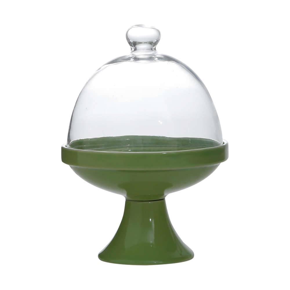 Prato Multiuso Verde Modelo Pedestal em Porcelana - 11x7 cm