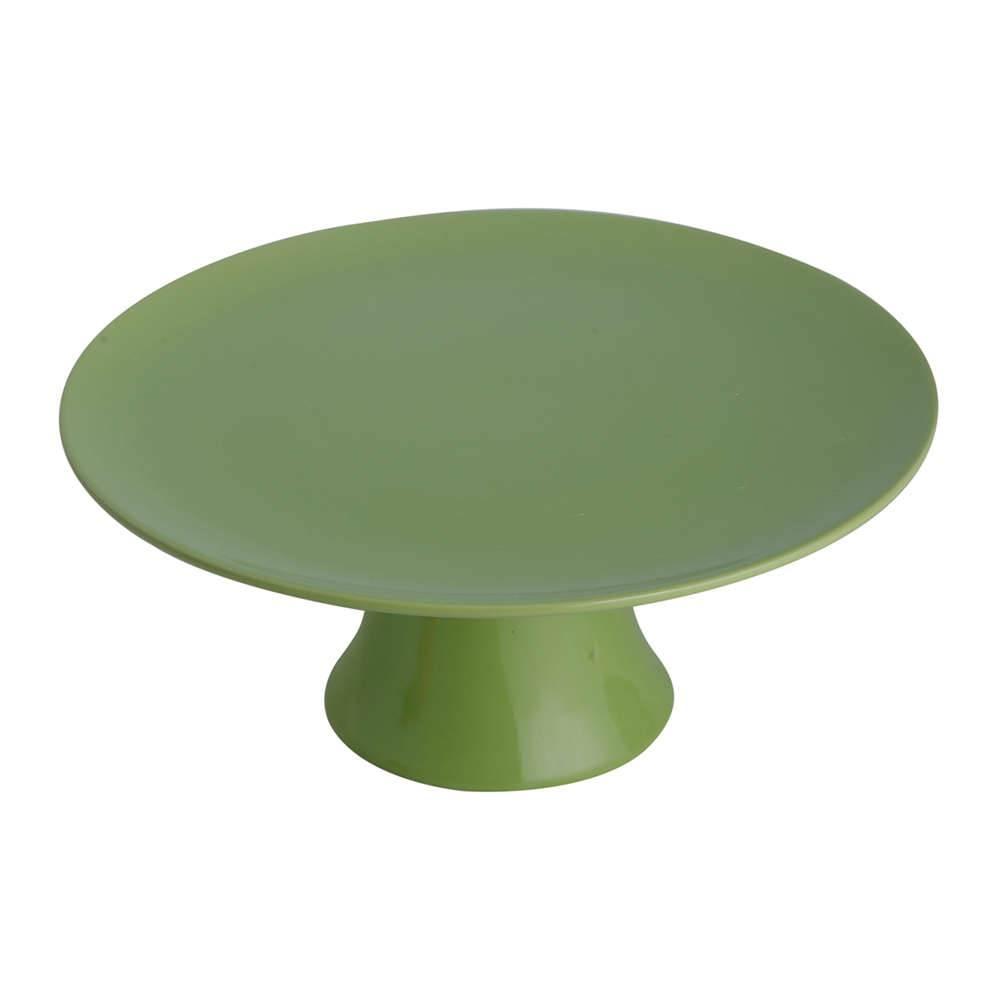 Prato Multiuso Verde Pedestal Grande em Porcelana - Bon Gourmet - 30x13,5 cm