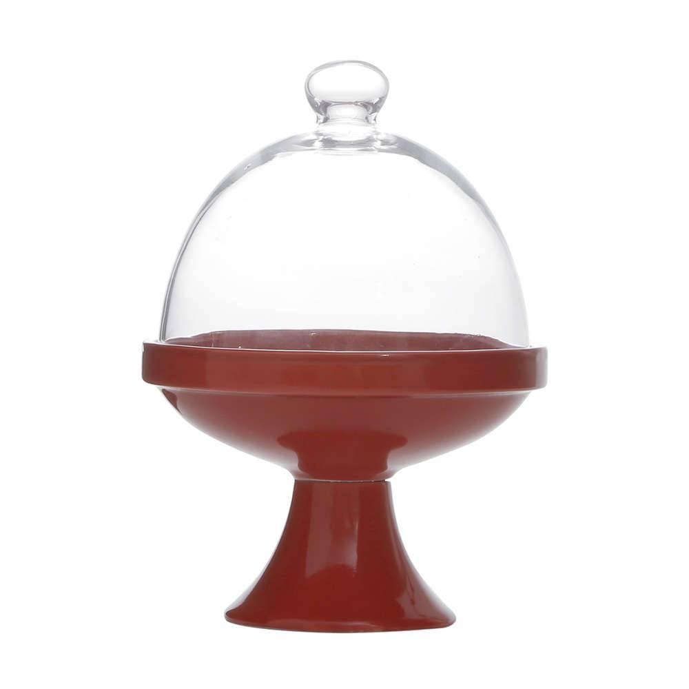 Prato Multiuso Vermelho Modelo Pedestal Redondo Pequeno em Porcelana - 19x14 cm