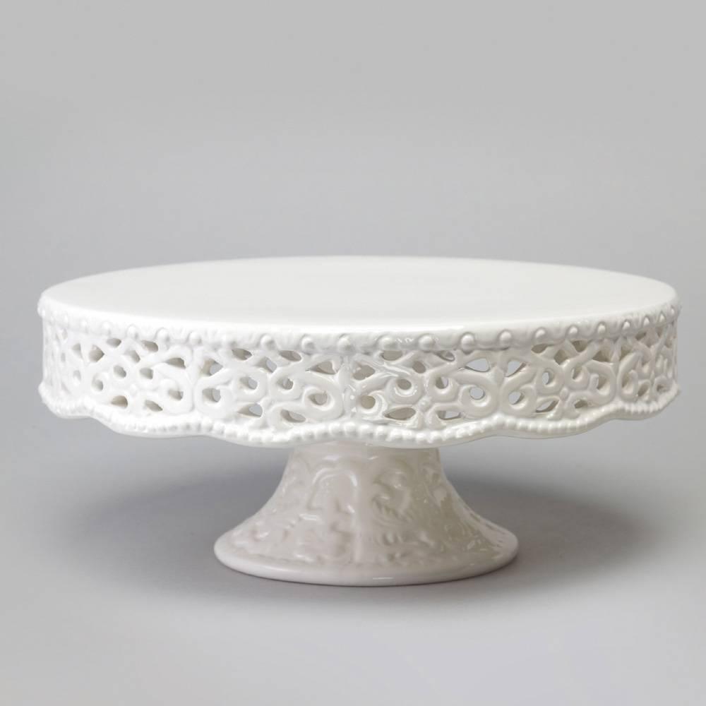 Prato para Bolo Delicate Pequeno Rendado com Pé - Bon Gourmet - 20,5x8,5 cm