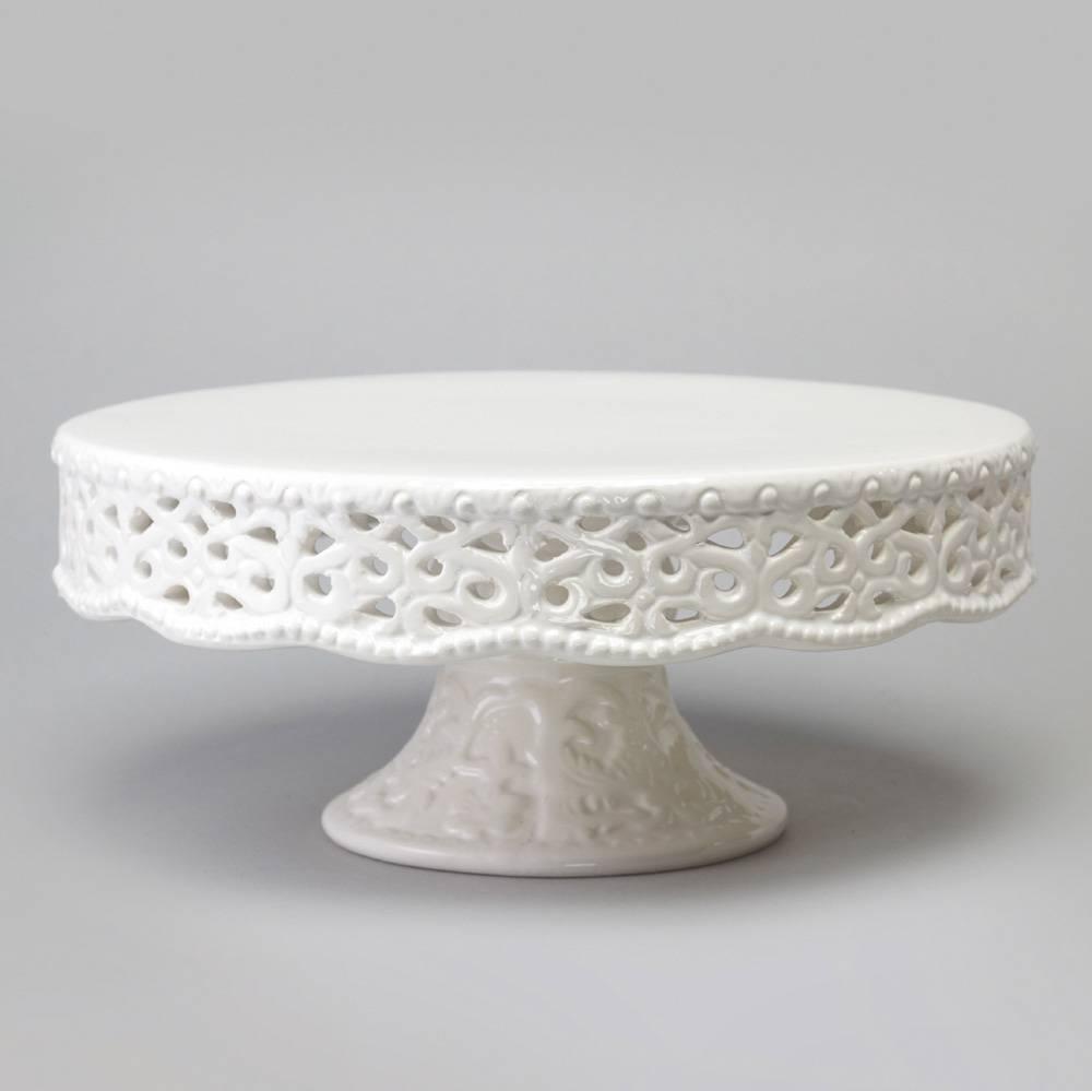 Prato para Bolo Delicate Médio Rendado com Pé - Bon Gourmet - 29,2x12,5 cm
