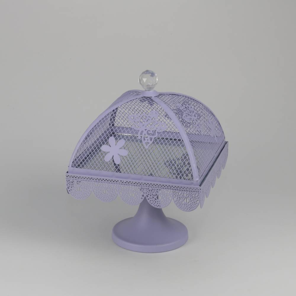 Prato para Bolo Butterfly Roxo Médio em Ferro Fundido - Wolff - 30x24 cm