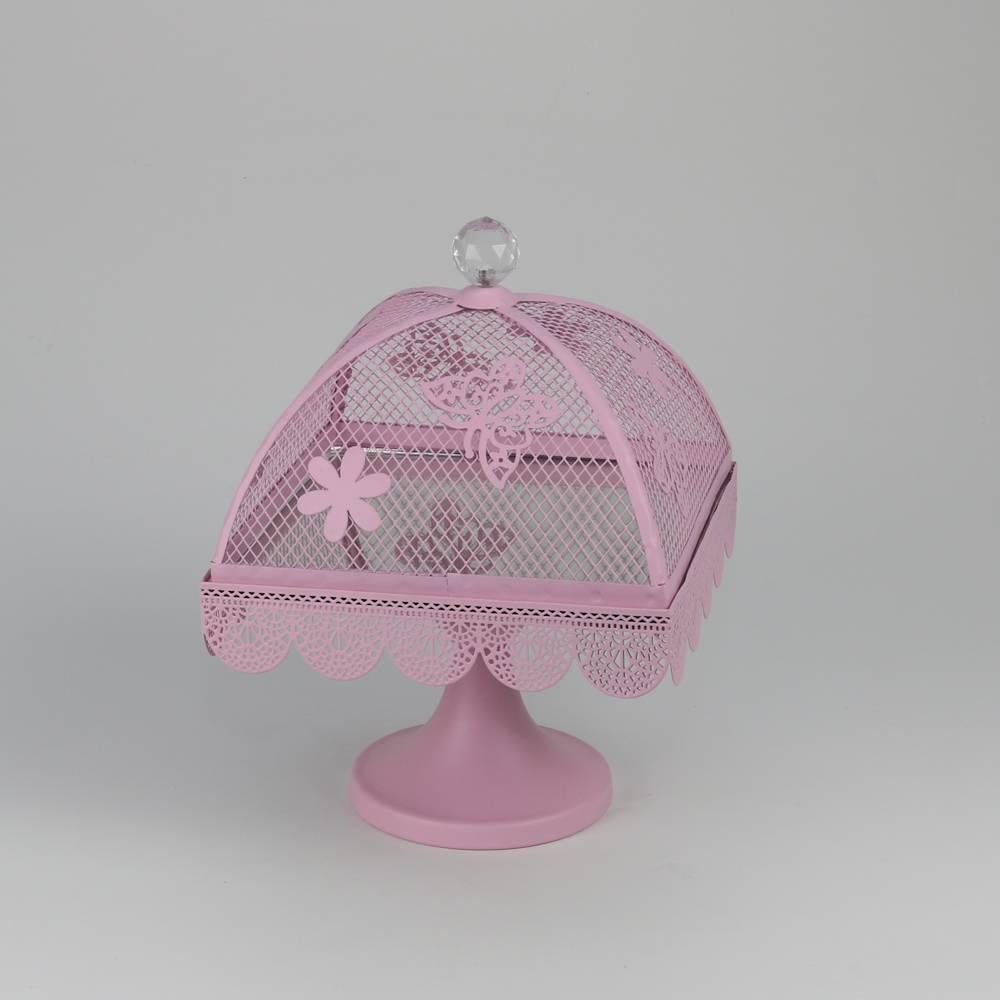 Prato para Bolo Butterfly Rosa Pequeno em Ferro Fundido - Bon Gourmet - 26,5x20 cm