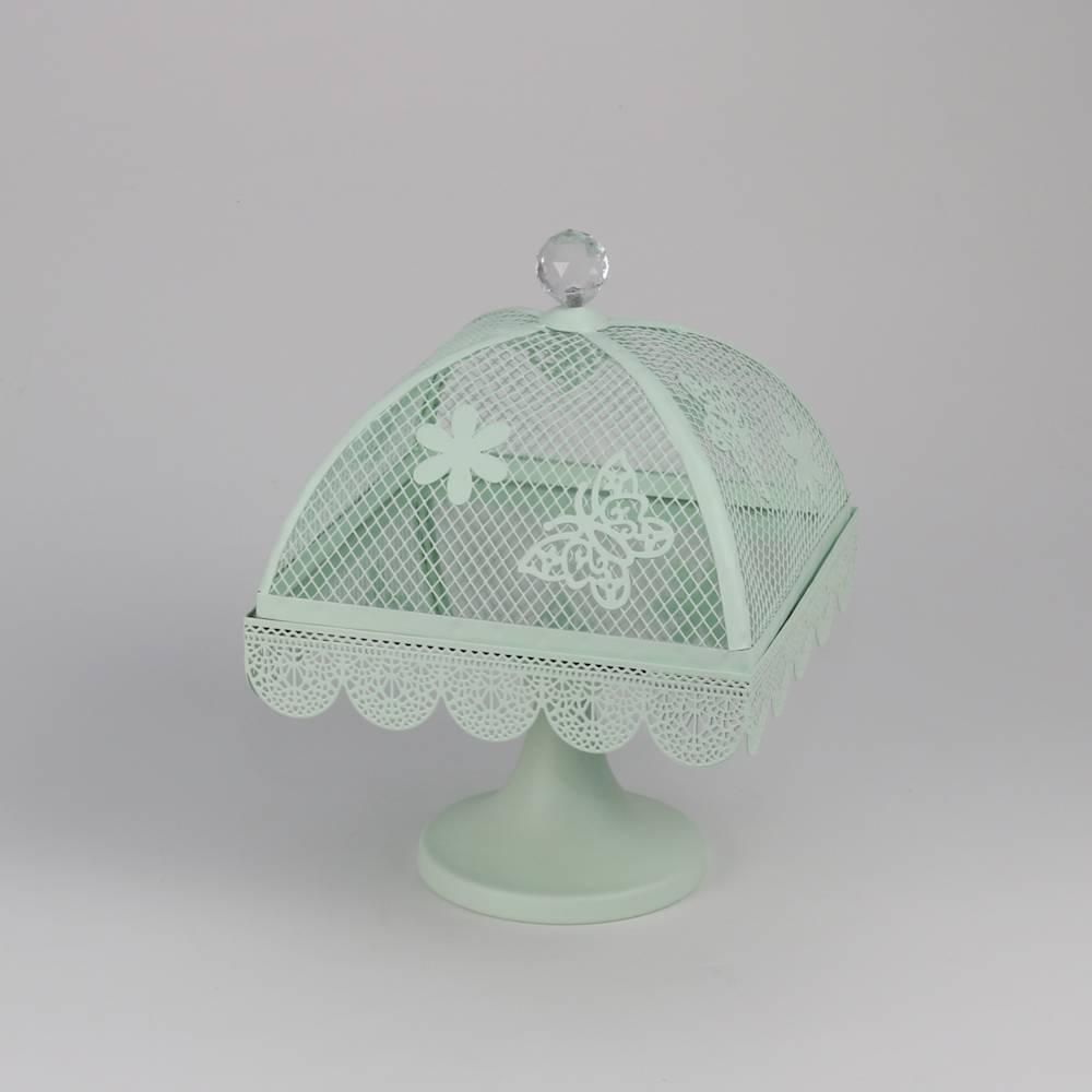 Prato para Bolo Butterfly Verde Pequeno em Ferro Fundido - Bon Gourmet - 26,5x20 cm