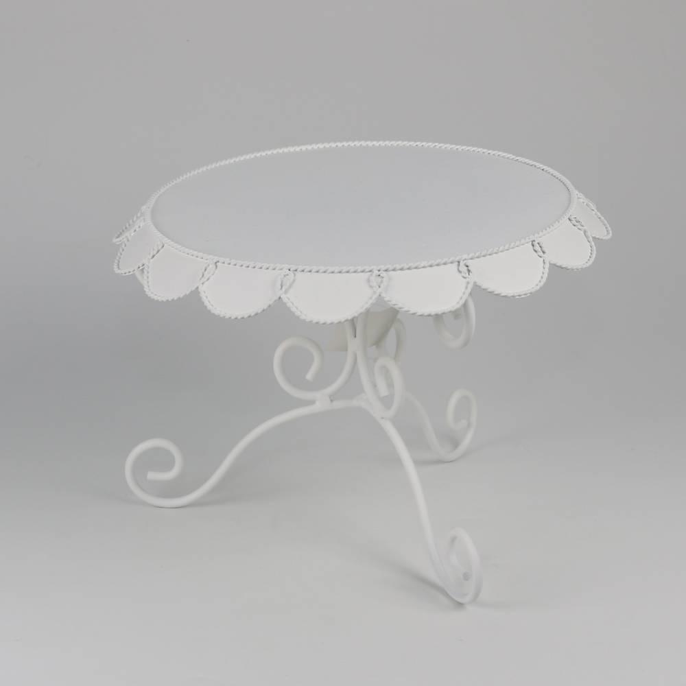 Prato para Bolo Table Redondo com Pé Cinzelado - Branco - Bon Gourmet - 29x20 cm