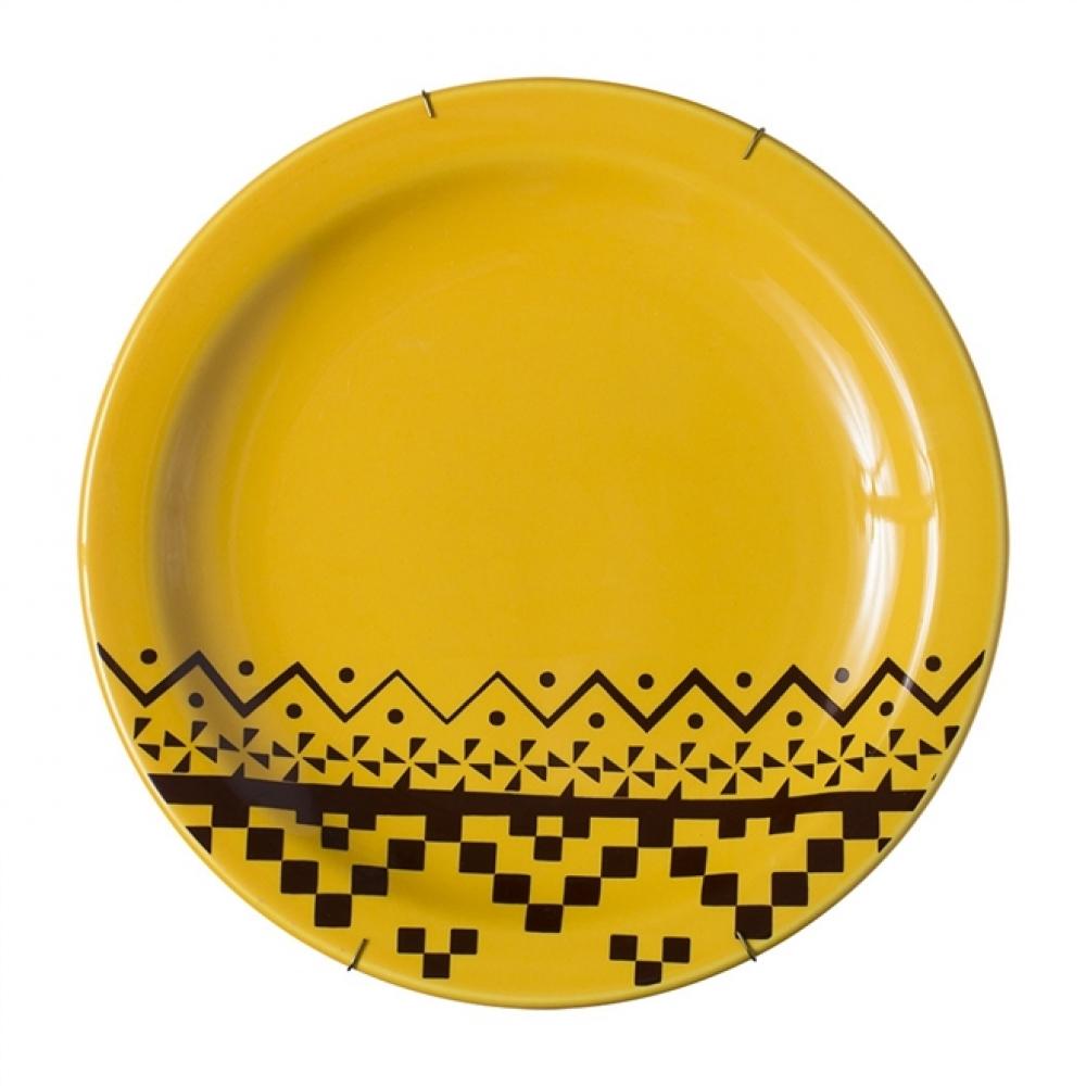Prato de Parede Amarelo Étnico G