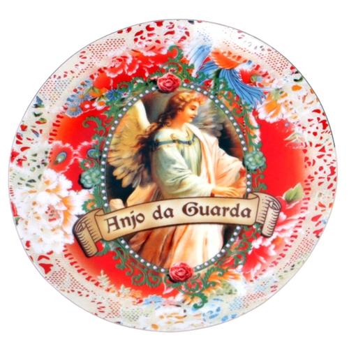 Prato de Parede Anjo da Guarda em Cerâmica - 20x20 cm