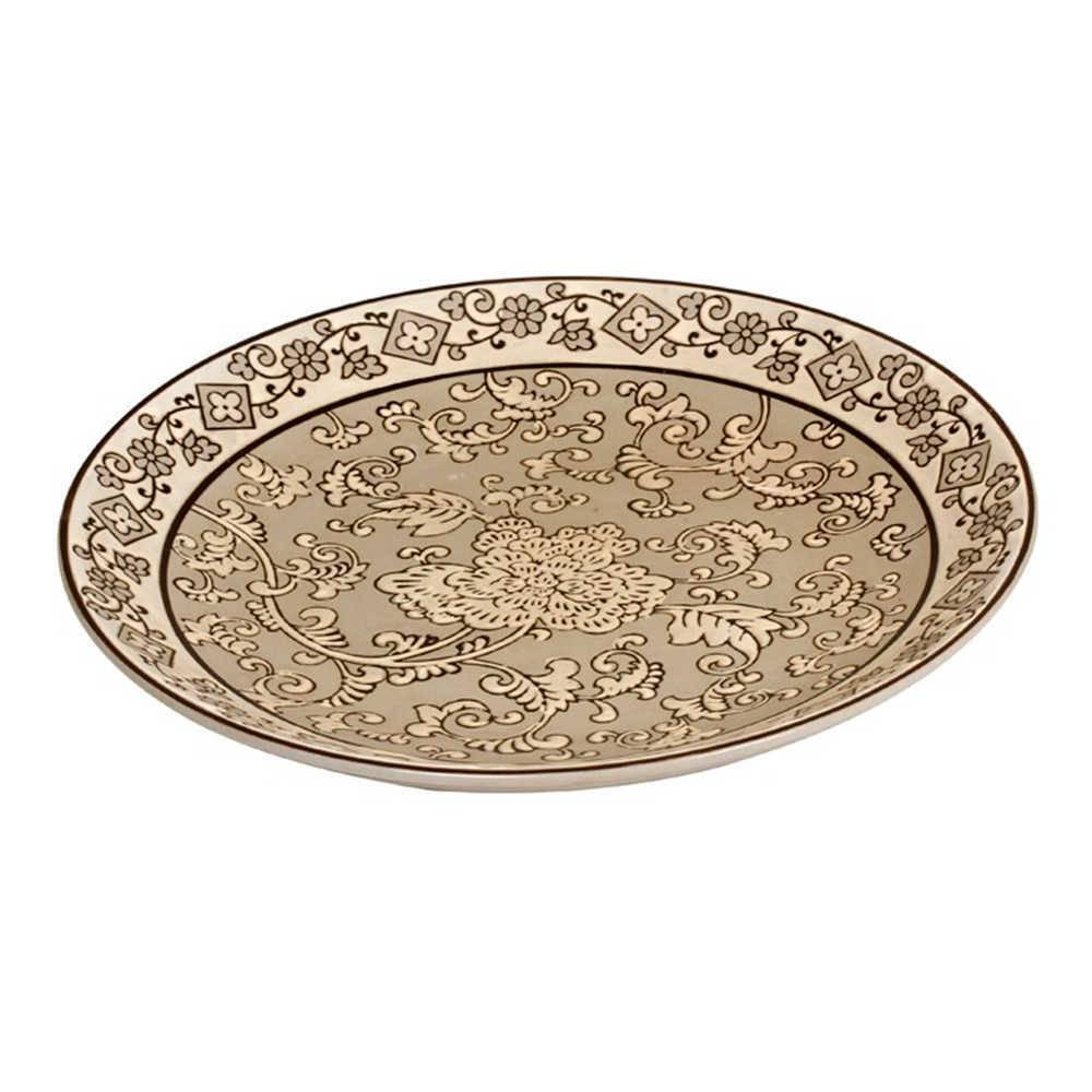 Prato de Parede Arabescos Bege em Porcelana - 36x3 cm