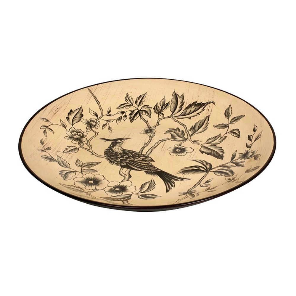 Prato de Parede Bird on Branch Bege em Porcelana - 42x3 cm