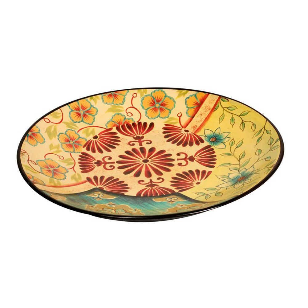 Prato de Parede com Estampa Colorida de Flores em Porcelana - 42x3 cm