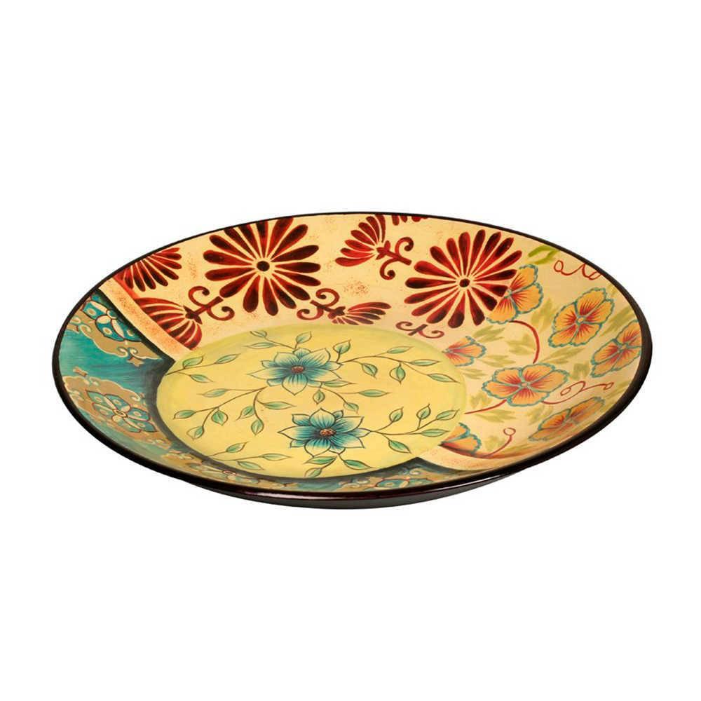 Prato de Parede Floral Colorido em Porcelana - 42x3 cm