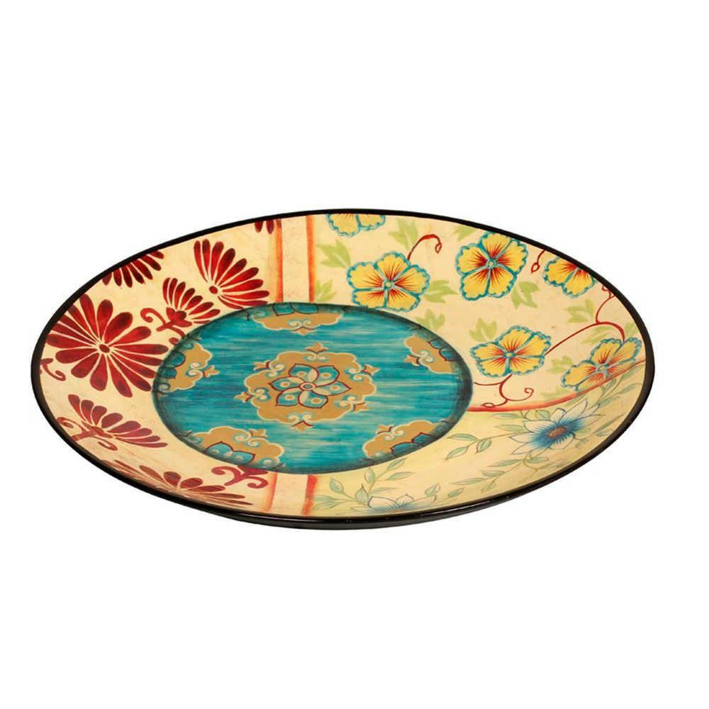 Prato de Parede Flores Coloridas em Porcelana - 42x3 cm