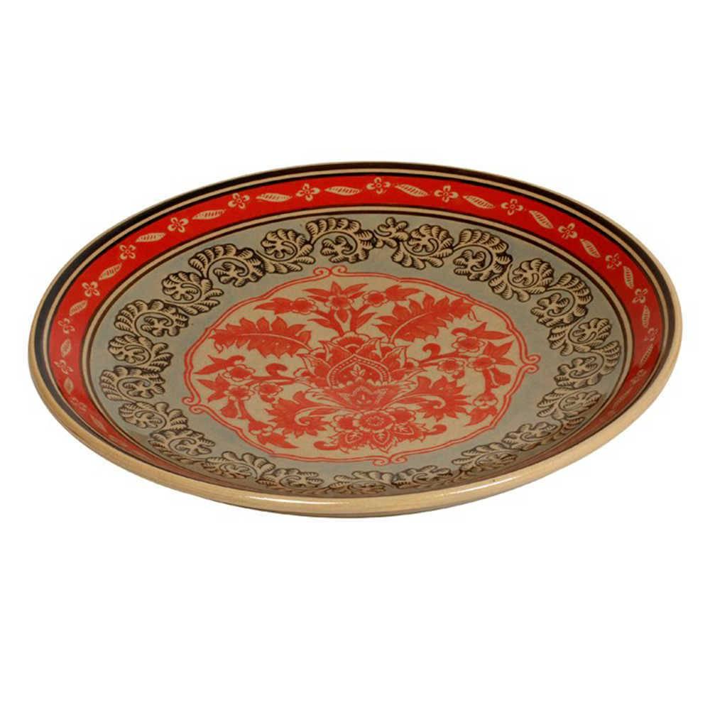 Prato de Parede Indian Colorido em Porcelana - 36x3 cm