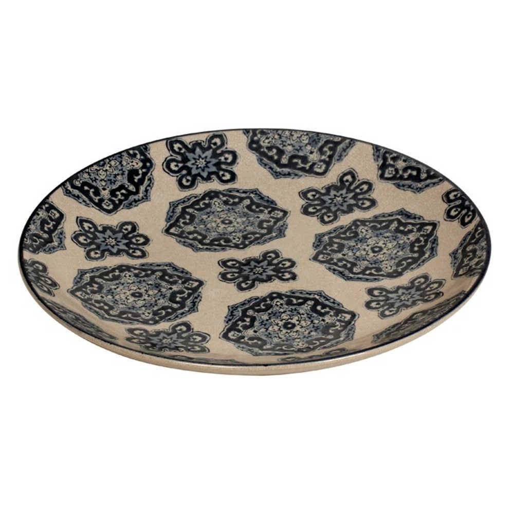 Prato de Parede Lincen em Porcelana Bege e Azul - 36x3 cm