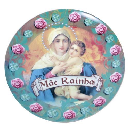 Prato de Parede Mãe Rainha em Cerâmica - 20x20 cm