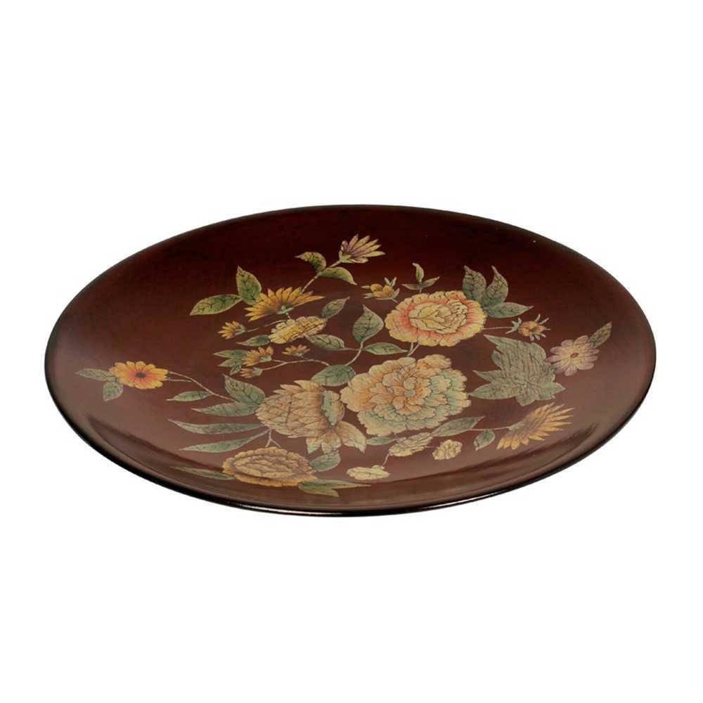 Prato de Parede Marrom com Estampa de Flores em Porcelana - 42x3 cm