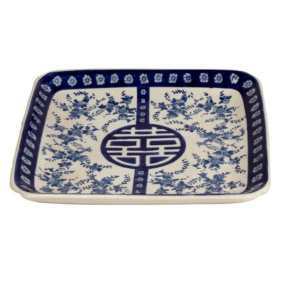 Prato de Parede Raoní Azul e Branco em Porcelana - 32x29 cm
