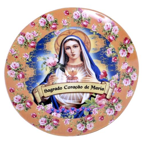 Prato de Parede Sagrado Coração de Maria em Cerâmica - 20x20 cm
