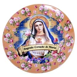 Prato de Parede Sagrado Coração de Maria em Cerâmica