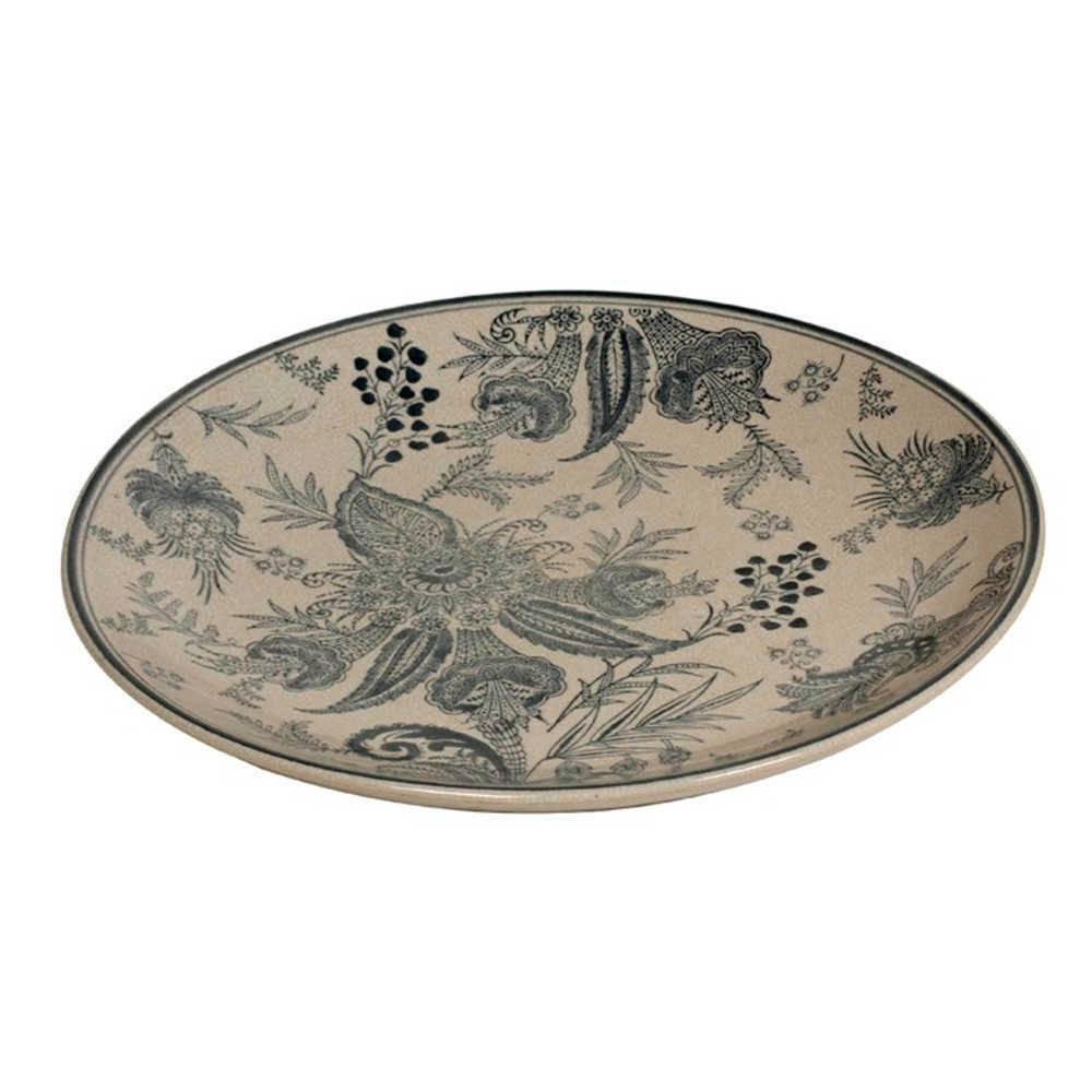 Prato de Parede Salu em Porcelana Bege e Azul - 36x3 cm