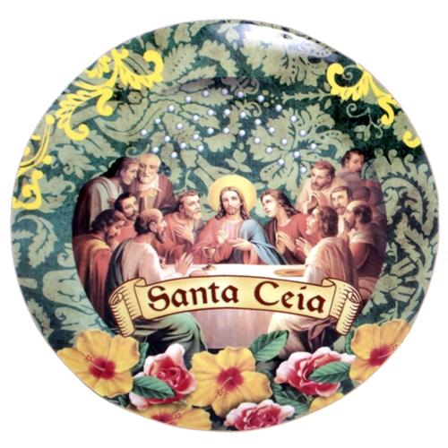 Prato de Parede Santa Ceia em Cerâmica - 20x20 cm
