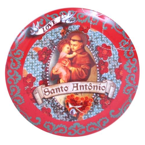 Prato de Parede Santo Antônio em Cerâmica - 20x20 cm