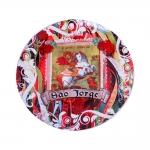 Prato de Parede São Jorge Vermelho em Cerâmica - 20x20 cm