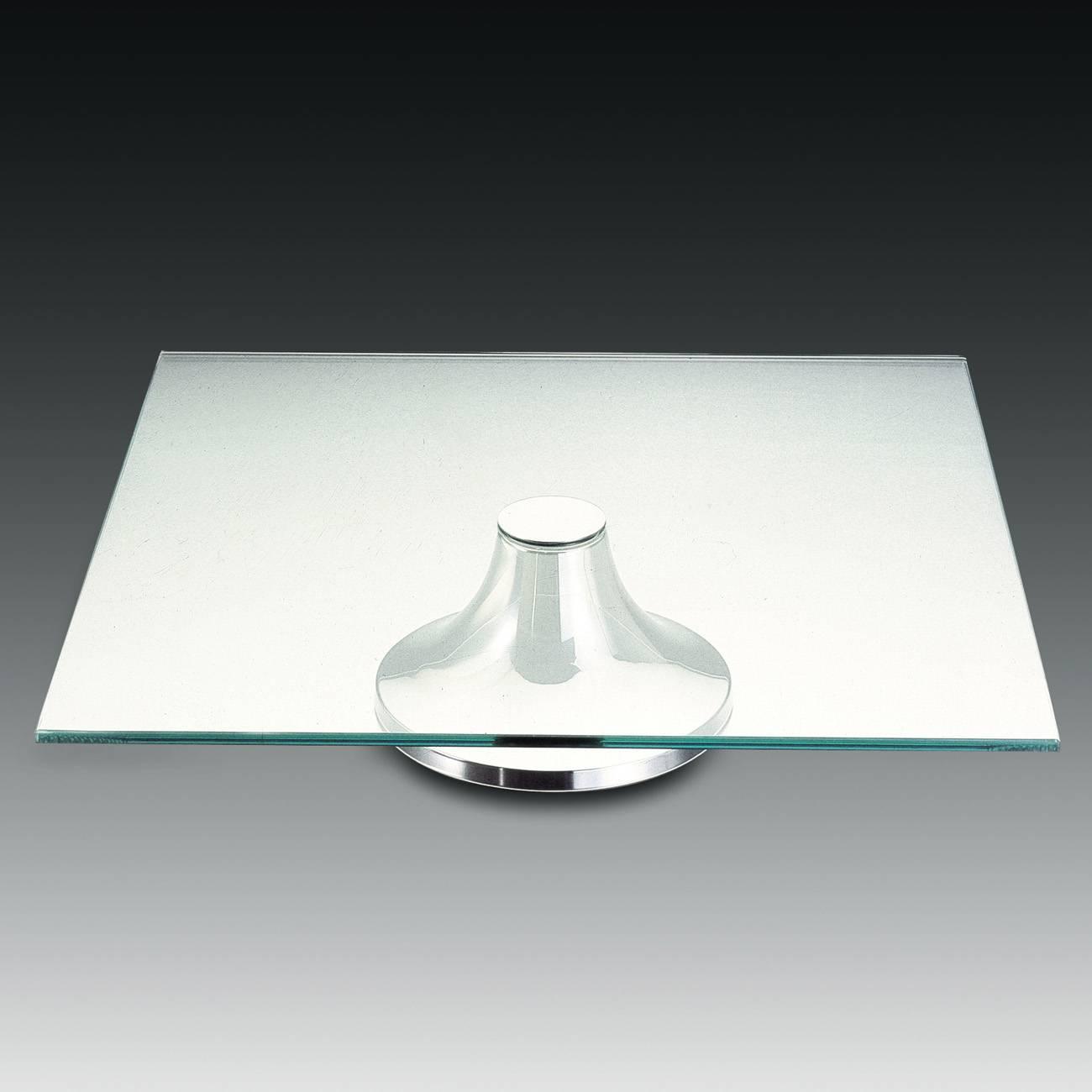 Prato para Bolo Roma Quadrado com Pé em Prata - Wolff - 35x35 cm
