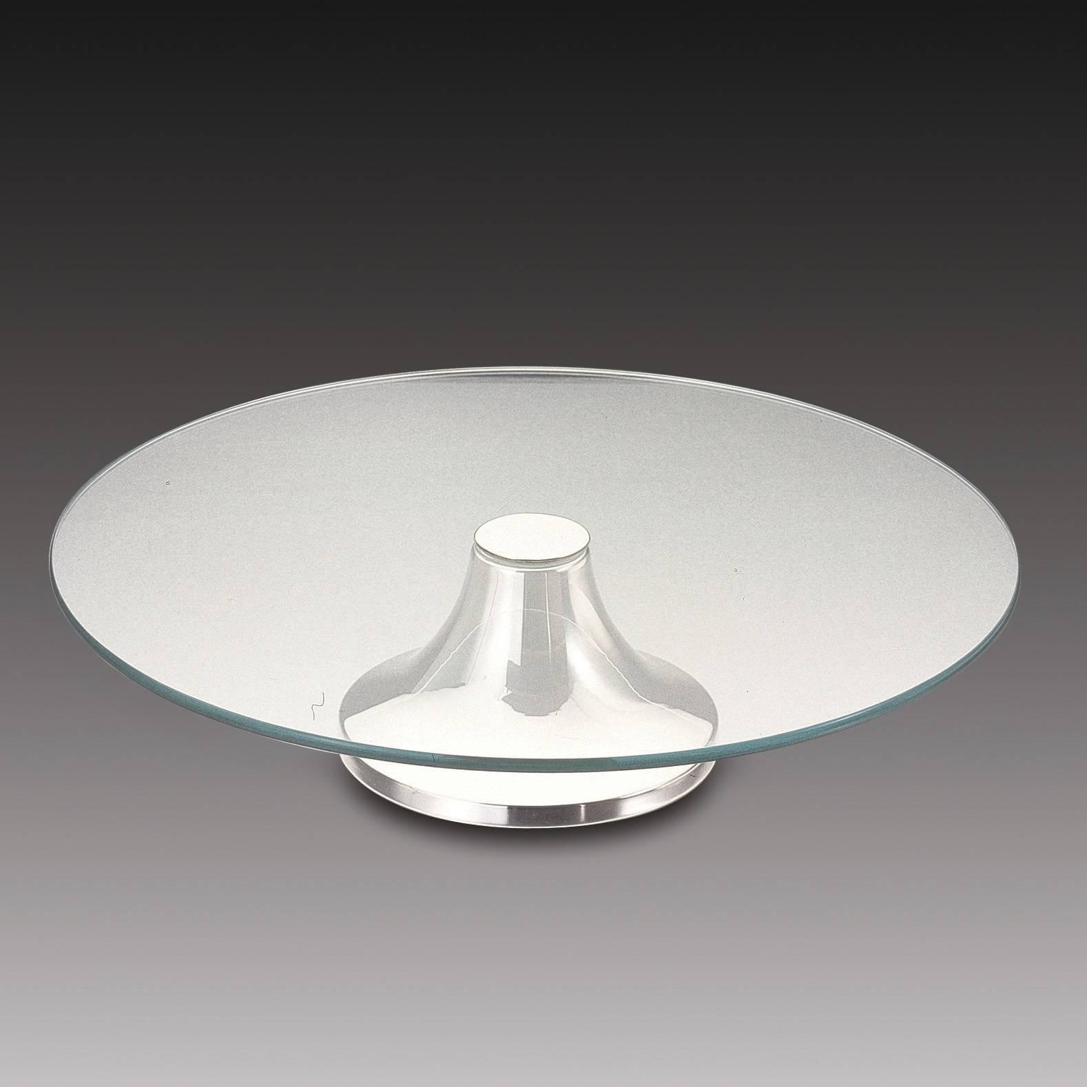 Prato para Bolo Luane Pedestal Redondo em Prata - 40 cm