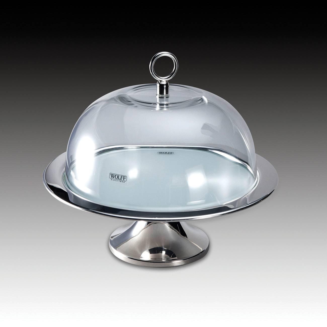 Prato para Bolo Pedestal em Prata e Vidro Branco com Tampa - Wolff - 36x26 cm