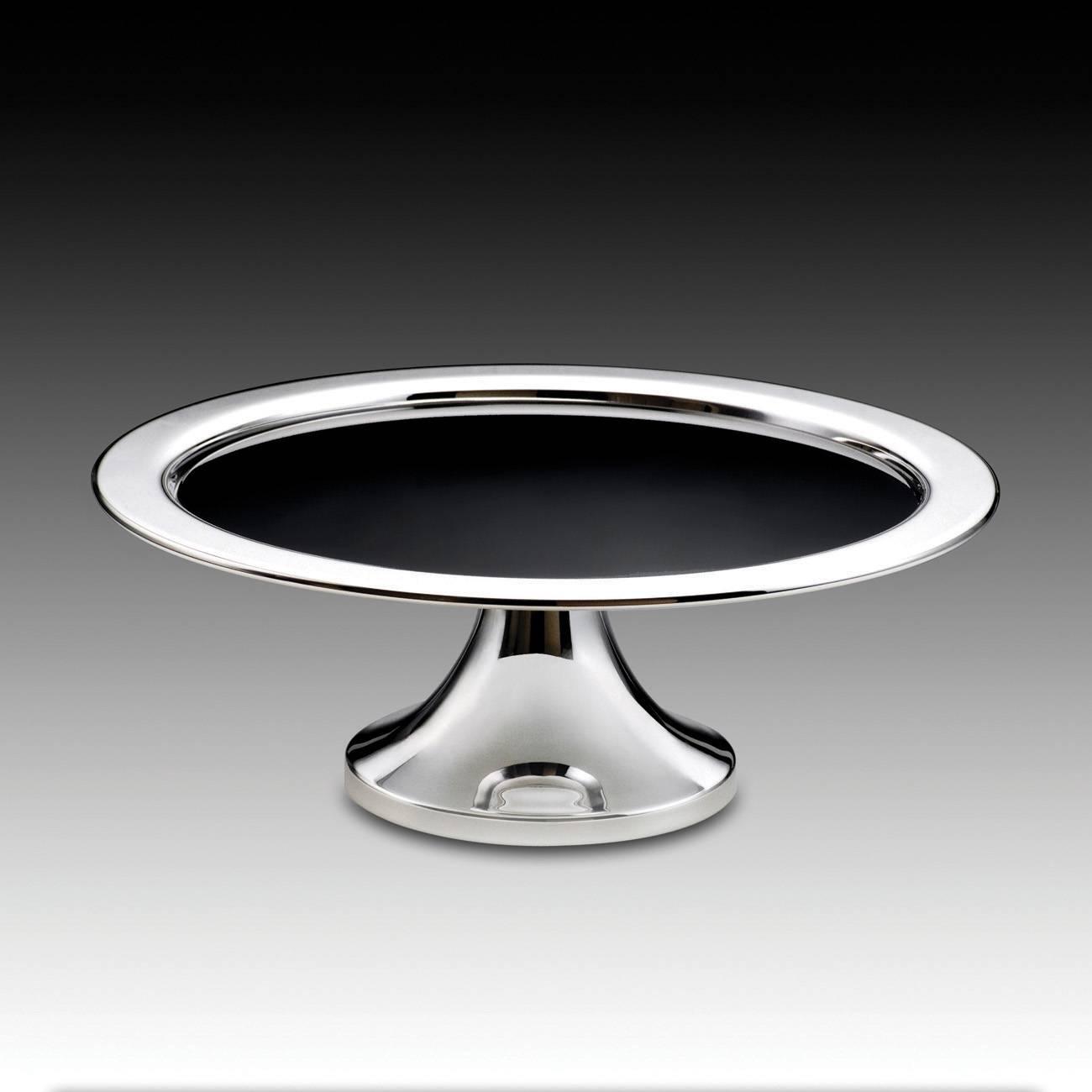 Prato para Bolo Pedestal em Prata com Vidro Preto - Wolff - 36x13,5 cm