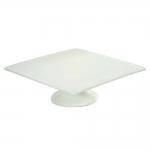 Prato com Pé Slant Quadrado Branco em Cerâmica - 31x31 cm