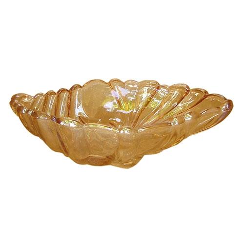 Prato Pequeno Voga em Vidro Âmbar - 32x21 cm