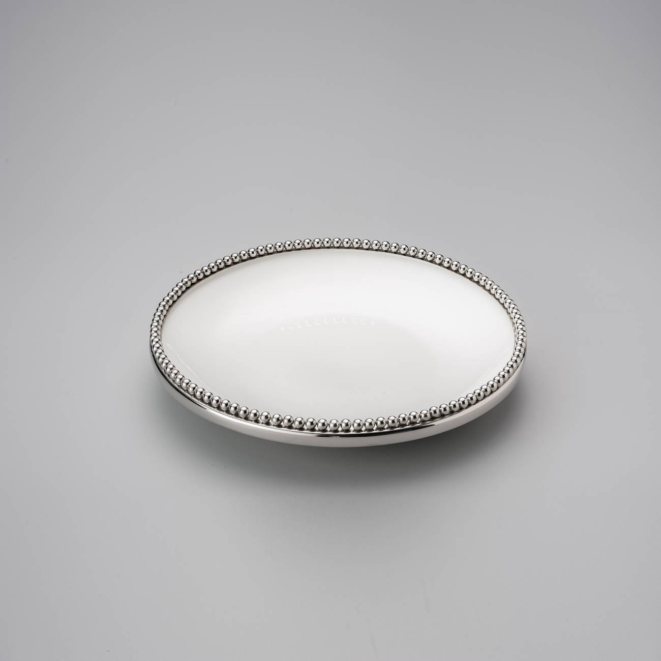 Prato para Bolo Beaded Redondo Grande em Cerâmica - Delhi Wolff - 33x1,5 cm