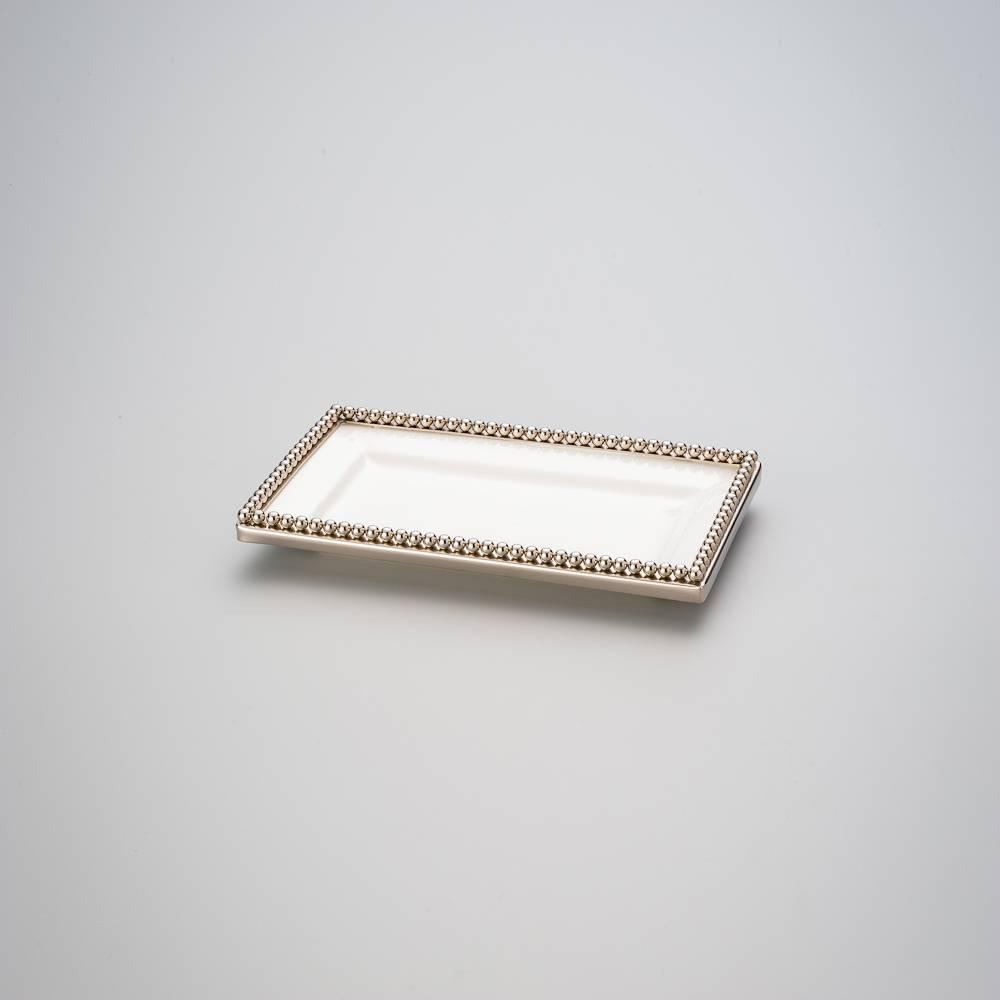 Prato Beaded Retangular Branco/Dourado em Cerâmica - Prestige - 25x15,5 cm
