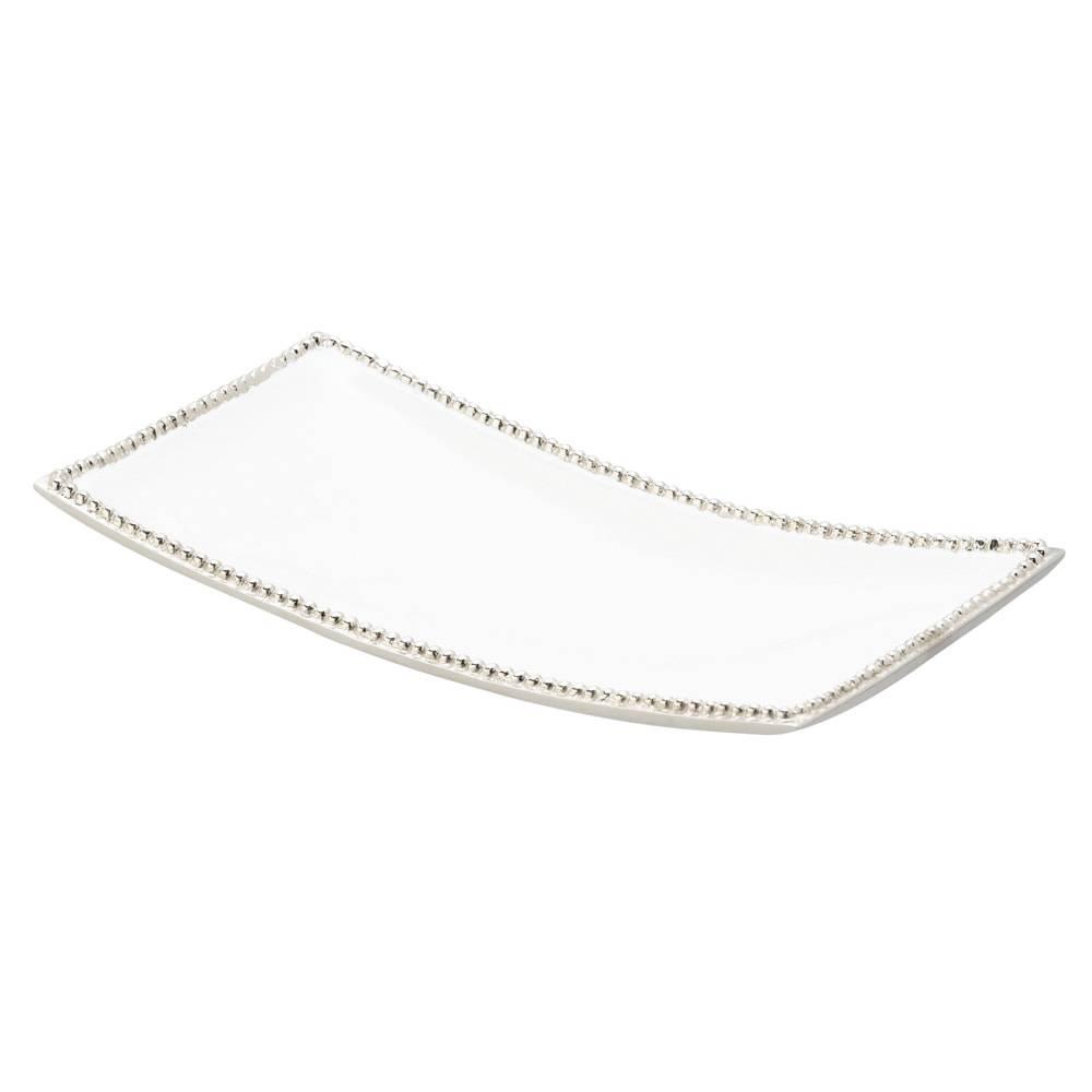 Prato Retangular Branco com Bolinhas em Metal - Lyor Classic - 34,5x18,5 cm