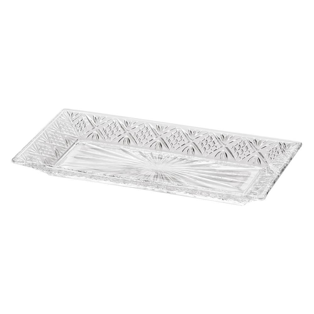 Prato Retangular Dublin Transparente em Cristal - Lyor Classic - 30x15,5 cm