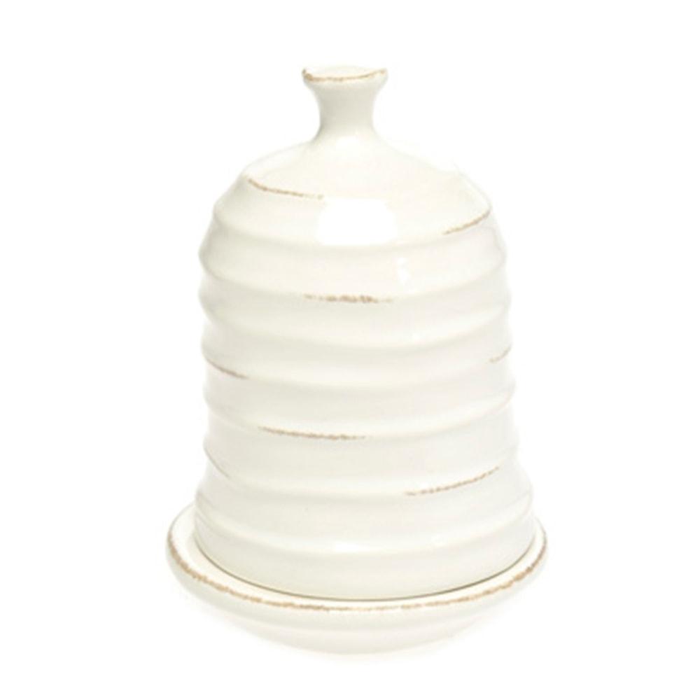 Prato com Tampa Tropicália Branco em Cerâmica - 12x8 cm