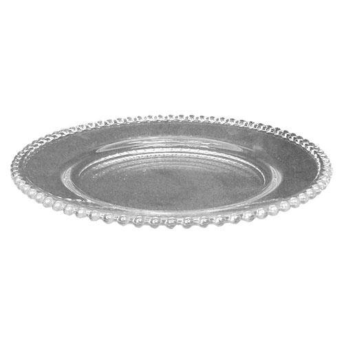 Prato Transparente Adele Grande de Vidro - 32x3 cm