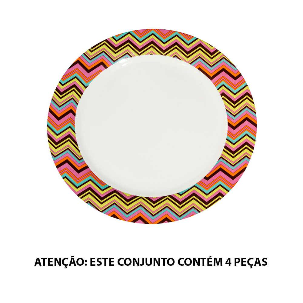 Pratos de Jantar Matrioska Colorido - 4 Peças - em Porcelana - Urban