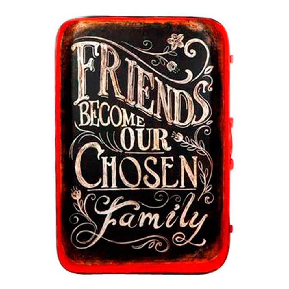 Placa Bandeja Friends Become Our Chosen Family em Metal - 60,5x42,5 cm