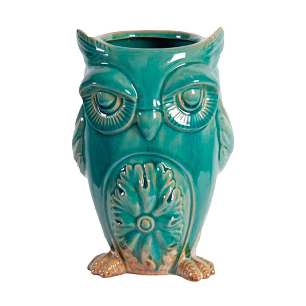 Cachepô Coruja Alta Pequena em Cerâmica - 15x11 cm