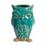 Cachepô Coruja Alta Pequena em Cerâmica