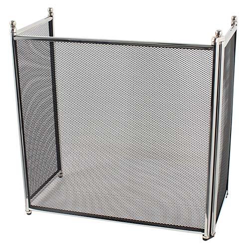 Proteção de Lareira Lisa Prata Baixa Fullway em Inox - 88x50 cm